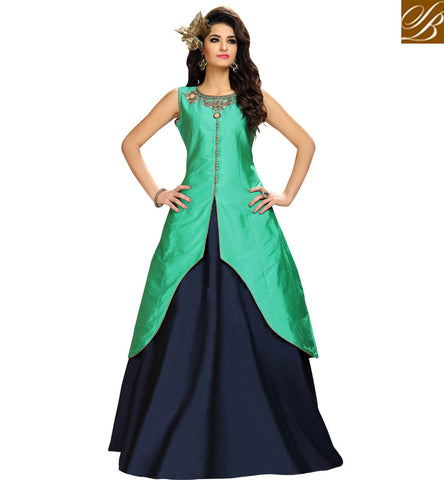 STYLISH BAZAAR ENTICING BLUE AND GREEN RECEPTION LEHENGA KAMEEZ STYLISH BAZAAR SUMMER WOMEN SUITS ONLINE COLLECTION VDMAS20426