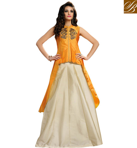 STYLISH BAZAAR BUY SILK GOWN STYLE ORANGE LEHENGA WITH FRONT CUT KAMEEZ ETHNIC TOP GHAGHRA COLLECTION ONLINE VDMAS20427