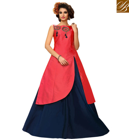 STYLISH BAZAAR BRILLIANT BLUE AND RED TAFETA SILK PARTY WEAR INDIAN GOWN STYLE WOMEN SUIT FOR SUMMER VDMAS20428