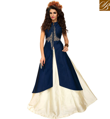 STYLISH BAZAAR NAVY BLUE AND CREAM JACKET STYLE DESIGNER LEHENGA ONLINE STYLISH BAZAAR ETHNIC WEAR SUMMER COLLECTION VDMAS20429