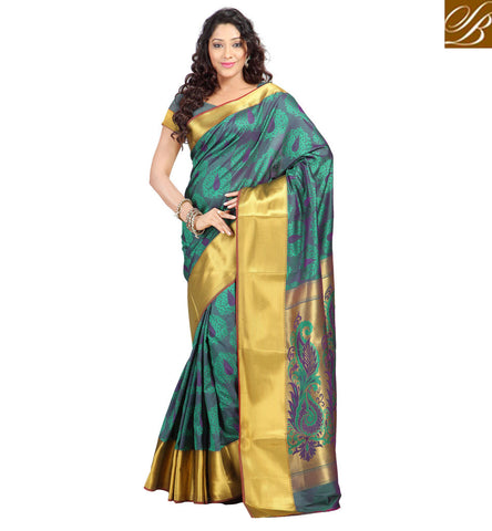 STYLISH BAZAAR FANTASTIC GREEN ART SILK OCCASION WEAR SAREE ONLINE SHOPPING SARI INDIAN WOMEN SAREE COLLECTION VDMEL20276