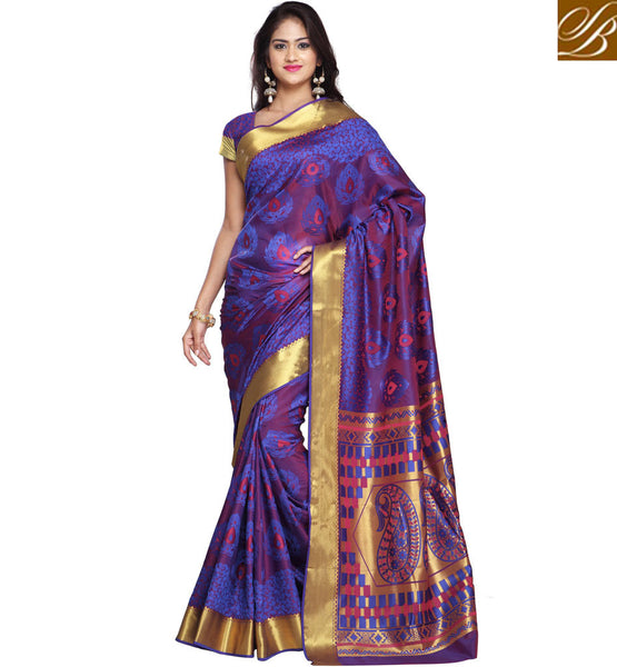 STYLISH BAZAAR LOVELY DESIGNER PURPLE SAREE WITH GOLDEN BORDER FASHIONABLE SARIS FOR WOMEN ONLINE BEST ART SILK SAREE COLLECTION VDMEL20277