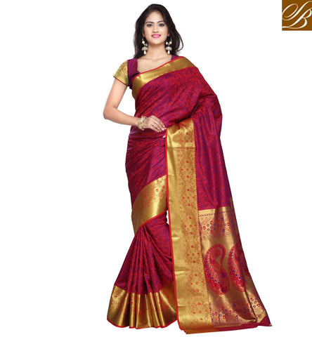 STYLISH BAZAAR EXQUISITE DESIGNER RED AND GOLD ART SILK SAREE BLOUSE LATEST WOMEN SARIS ONLINE SHOPPING INDIA VDMEL20278