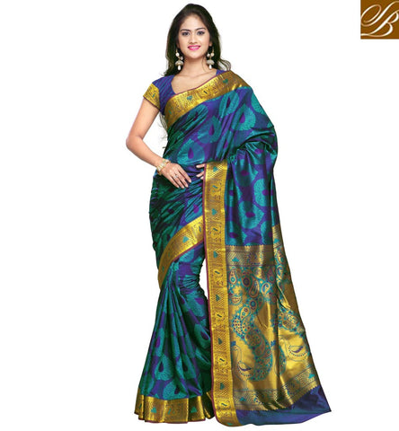 STYLISH BAZAAR SUPERB ROYAL BLUE COLOUR ART SILK SAREE WITH GOLDEN BORDER DESIGNER SARI ONLINE INDIA COLLECTION AT LOW PRICE VDMEL20279