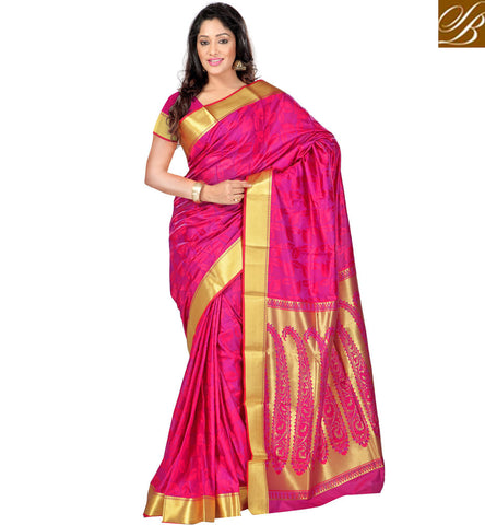 STYLISH BAZAAR BUY ATTRACTIVE PINK SILK SAREE WITH GOLD BORDER ONLINE LATEST SARI COLLECTION FOR WOMEN IN INDIA VDMEL20283