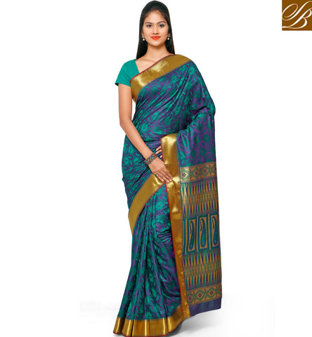 STYLISH BAZAAR EXCELLENT ART SILK PRINTED BLUE SAREE STYLISH BAZAAR GOLDEN BORDER SARI STORE COLLECTION FOR WOMEN VDMEL20284