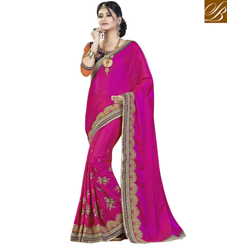 STYLISH BAZAAR APPEALING PINK SATIN GEORGETTE CONTAIN WONDERFUL EMBROIDERED SAREE VDMHI20104