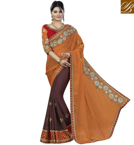 STYLISH BAZAAR ORANGE AND BROWN PURE CHIFFON EMBROIDERED PARTY WEAR SAREE VDMHI20105