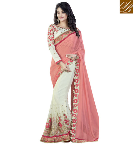 STYLISH BAZAAR OFF WHITE AND PEACH NET GEORGETTE HAVING GLAMOROUS LOOK SAREE VDMHI20106