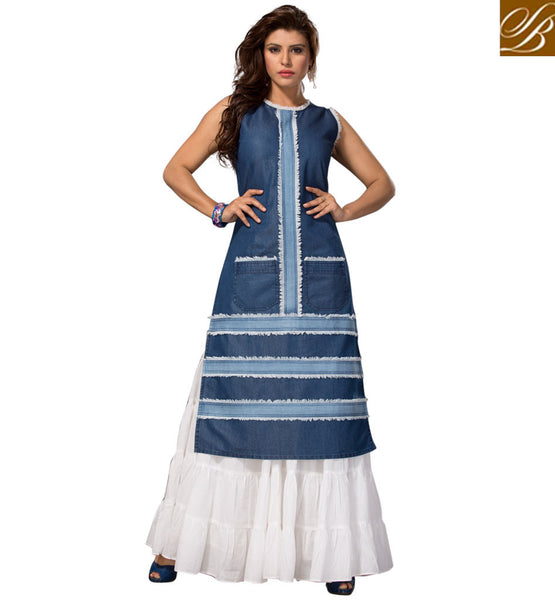 STYLISH BAZAAR Buy Blue sleeveless denim kurti top latest designer western casual wear VDMHZ21537