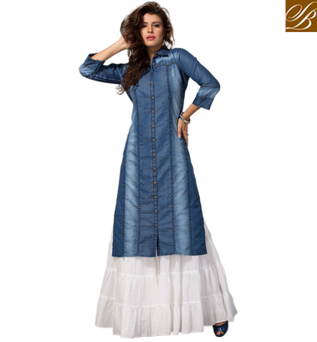 STYLISH BAZAAR Long blue casual denim long shirt type western top best college attire VDMHZ21540