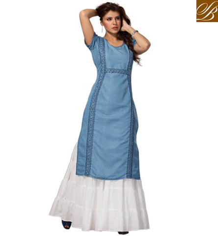 STYLISH BAZAAR Light blue denim fabric round neck 3/4 length casual western stylish top VDMHZ21541