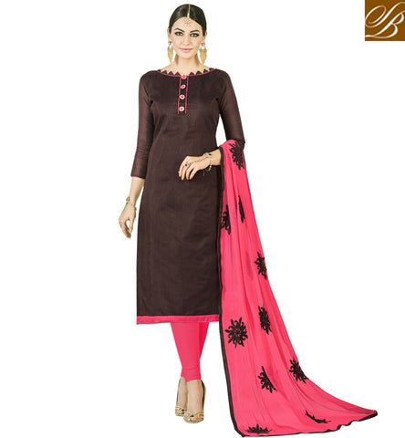 STYLISH BAZAAR BUY BROWN COLORED OFFICE WEAR CHANDERI COTTON SALWAR KAMEEZ ONLINE WOMEN OFFICE SALWAR SUIT COLLECTION VDMND20796