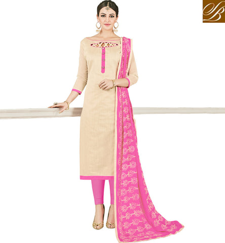 STYLISH BAZAAR BEIGE BABY PINK COTTON WOMEN SALWAR KAMEEZ ONLINE INDIAN OFFICE AND SUMMER WEAR COLLECTION VDMND20798