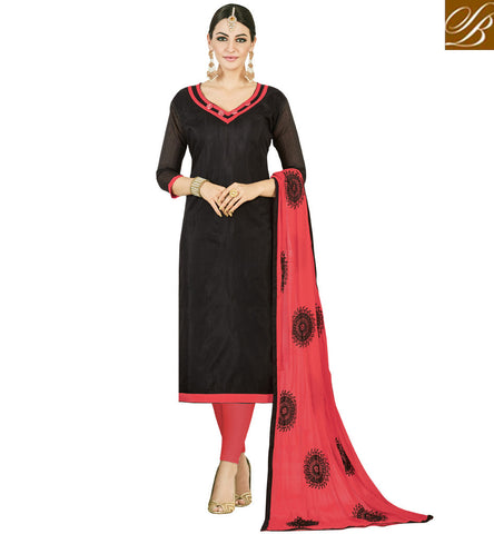 STYLISH BAZAAR SHOP OFFICE WEAR PINK AND BLACK LADIES COTTON SALWAR KAMEEZ WITH MATCHING DUPATTA ONLINE VDMND20799