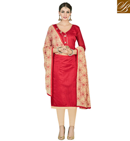 STYLISH BAZAAR OFFICE WEAR RED & BEIGE COTTON SALWAAR KAMEEZ FOR WOMEN ONLINE LATEST DESIGNER WOMEN SUIT VDMND20801