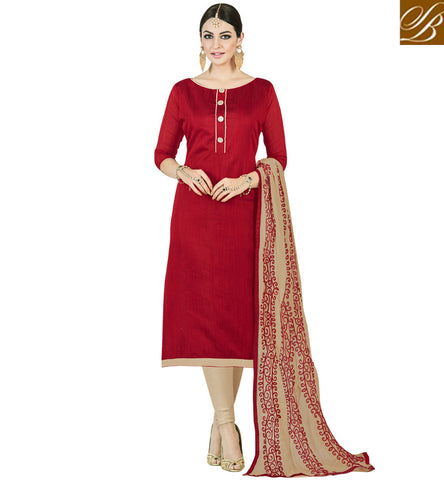 STYLISH BAZAAR STYLISH RED AND BEIGE EMBROIDERED COTTON CHURIDAR SALWAR KAMEEZ VDMND20802