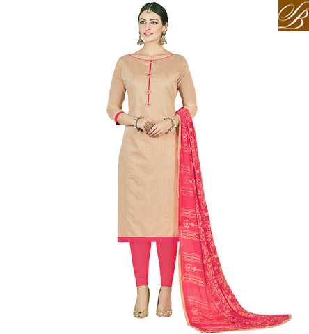 STYLISH BAZAAR OFFICE WEAR COTTON SALWAR KAMEEZ IN BEIGE AND PEACH COLOR INDIAN SUMMER LADIES SUIT COLLECTION VDMND20803
