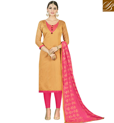 STYLISH BAZAAR WOMEN AND GIRLS MUSTARD AND BABY PINK CHUDIDAR STYLE SALWAR KAMEEZ OFFICE SALWAR SUMMER COLLECTION VDMND20805