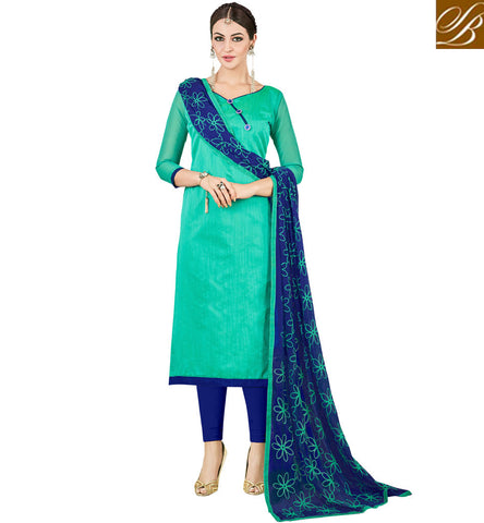 STYLISH BAZAAR BUY STYLISH STRIKING GREEN AND BLUE COMBINATION OFFICE WEAR CHANDERI COTTON SALWAR KAMEEZ ONLINE FOR INDIAN SUMMER VDMND20806