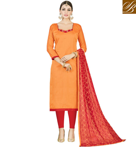 STYLISH BAZAAR SHOP ORANGE AND RED CHANDERI COTTON OFFICEWEAR SALWAR KAMEEZ FOR WOMEN ONLINE SUMMER COLLECTION VDMND20807