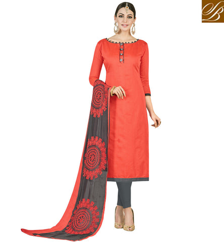 STYLISH BAZAAR STYLISH AND SMART ORANGE AND GREY COTTON OFFICE WEAR INDIAN DESIGNER SALWAR KAMEEZ VDMND20808