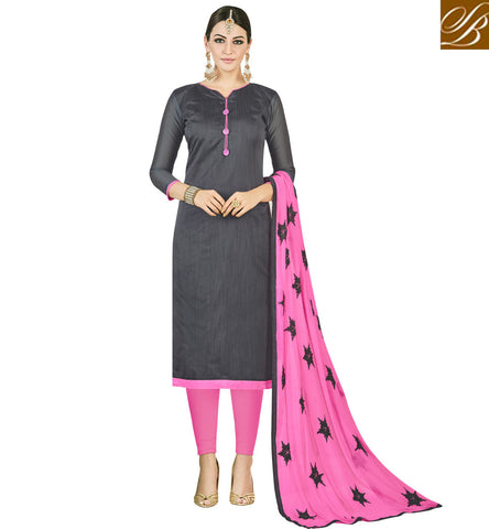 STYLISH BAZAAR DESIGNER SEMI STITCHED GREY AND PINK CHURIDAR OFFICE WEAR SALWAR SUIT COLLECTION FOR THIS SUMMER VDMND20809