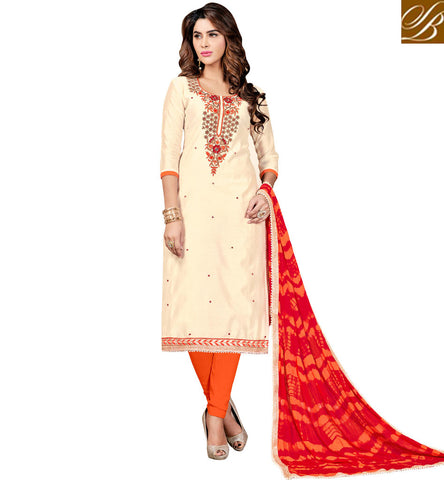 STYLISH BAZAAR CREAM AND ORANGE LADIES COTTON SALWAAR SUIT PATTERN LATEST CASUAL WOMEN DESIGNER SUMMER WEAR COLLECTION ONLINE VDMNSI20523