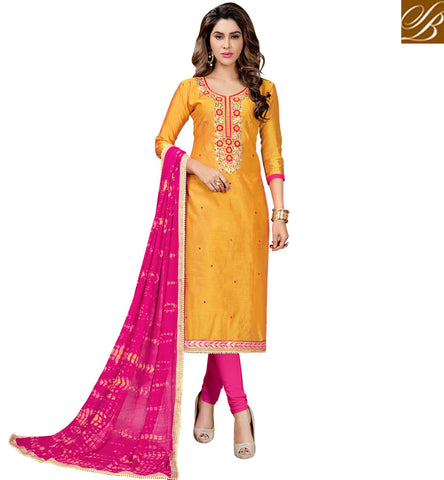 STYLISH BAZAAR BUY YELLOW AND PINK WOMEN COTTON SALWAAR KAMEEZ DRESS SUIT ONLINE INDIAN LADIES OFFICE WEAR COLLECTION VDMNSI20526
