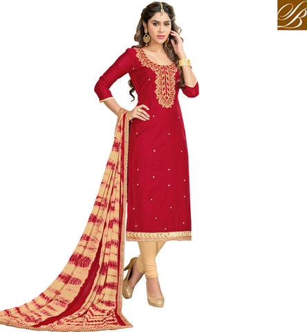 STYLISH BAZAAR BUY RED AND CREAM DESIGNER WOMENS COTTON SALWAAR SUIT ONLINE STYLISH BAZAAR CASUAL SUMMER WEAR COLLECTION VDMNSI20528