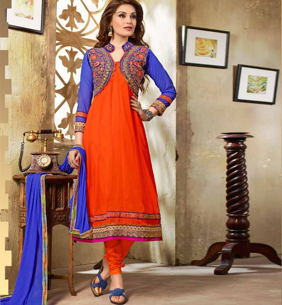 ORANGE PARTY WEAR ANARKALI VDMOK8003