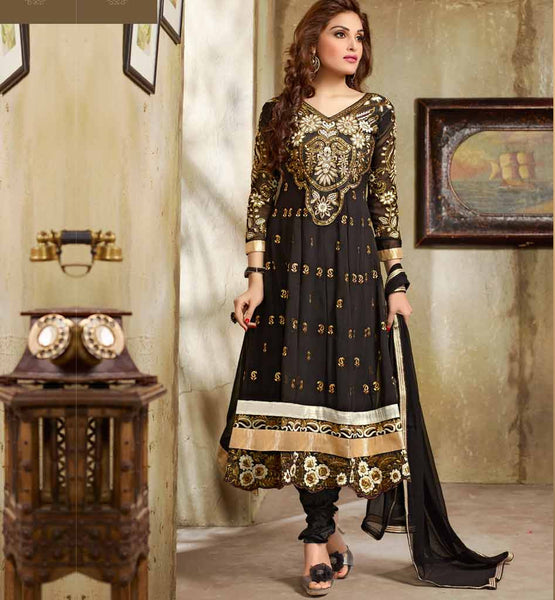 BLACK PARTY WEAR ANARKALI VDMOK8007