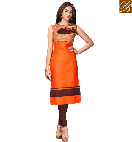 STYLISH BAZAAR AMAZING ORANGE LONG KEYHOLE PARTYWEAR KURTI ONLINE FOR WOMEN IN INDIAN PRICE WOMEN AND GIRLS KURTA VDNAS20263