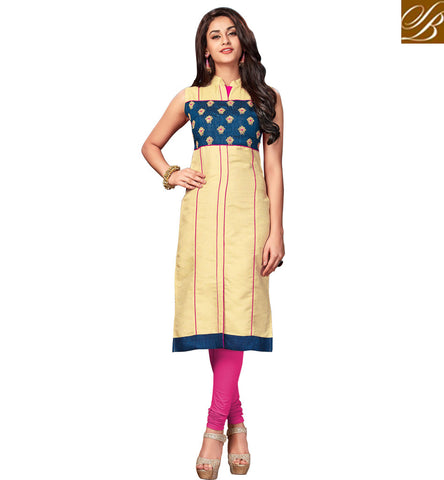 STYLISH BAZAAR INCREDIBLE CREAM DESIGNER SLEEVELESS LONG KURTI FOR WOMEN ONLINE SHOPPING TRENDY KURTA COLLECTION FOR WOMEN VDNAS20264
