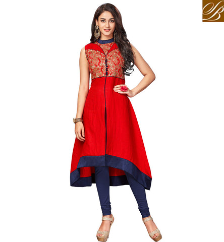 STYLISH BAZAAR APPEALING INDO WESTERN RED SILK SLEEVELESS KURTI CHENNAI SILKS INDIAN TUNIC TOP KURTI COLLECTIONS FOR WOMEN ONLINE VDNAS20265