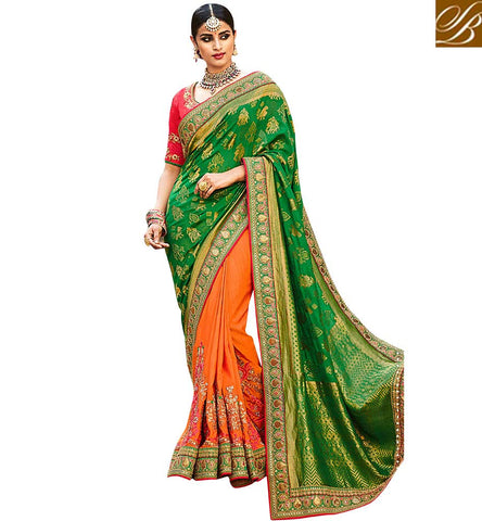 STYLISH BAZAAR GLOWING ORANGE DESIGNER HALF SAREE ONLINE LATEST INDIAN WOMEN BOUTIQUE HALF SARIS IN SILK COLLECTION VDNEY20418