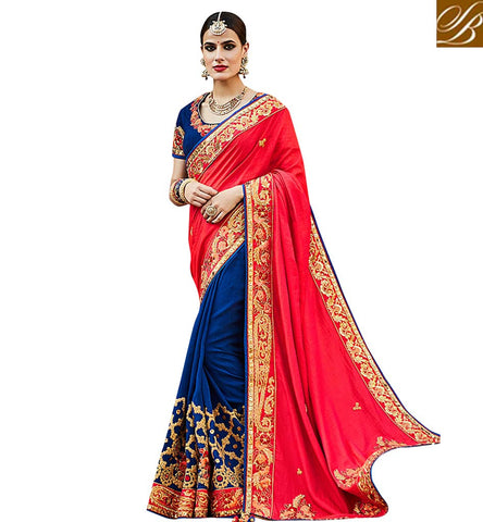 STYLISH BAZAAR RAVISHING RED AND BLUE HALF SAREE BEST DESIGNER WEDDING WEAR SAREES COLLECTION OF STYLISH BAZAAR VDNEY20420