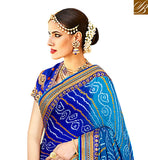 A STYLISH BAZAAR PRESENTATION BRILLIANT BLUE BLOUSE DESIGN FOR CREAM AND BLUE HALF SAREE DESIGNER SILK SAREES WITH PRICE VDNEY20421