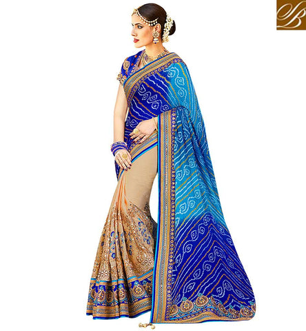 STYLISH BAZAAR BRILLIANT BLUE BLOUSE DESIGN FOR CREAM AND BLUE HALF SAREE DESIGNER SILK SAREES WITH PRICE VDNEY20421