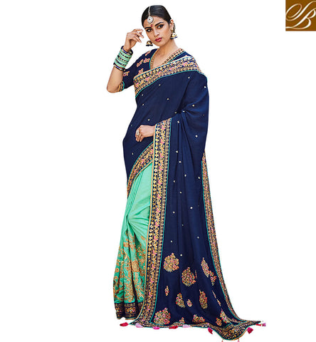 STYLISH BAZAAR FASHIONABLE SEA GREEN SAREE WITH BLUE V NECK BLOUSE ETHNIC DUKAAN OF SILK WEDDING HALF SARIS VDNEY20422