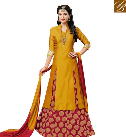 STYLISH BAZAAR BEAUTIFUL TAPETA SILK DESIGNER PARTY WEAR SLIT CUT LEHENGA CHOLI VDNGH20052