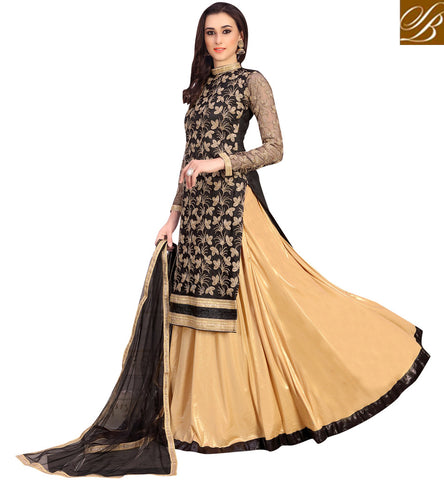 STYLISH BAZAAR Black & beige latest designer women lehenga kameez for parties VDNID23393