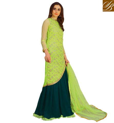 STYLISH BAZAAR Buy Light and dark Green latest party wear designer lehenga kamiz VDNID23394