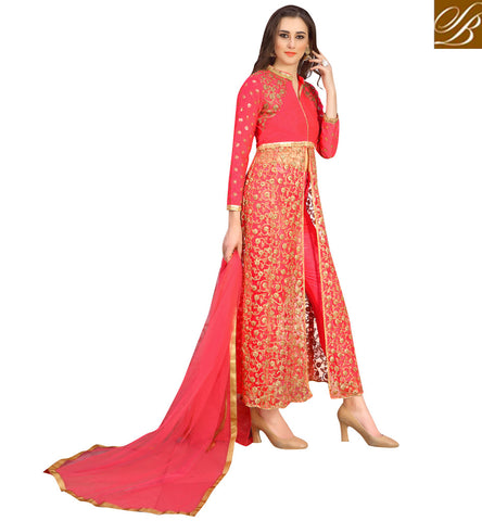 Shop Red mid slit latest silk ethnic kameez churidaar online VDNID23395