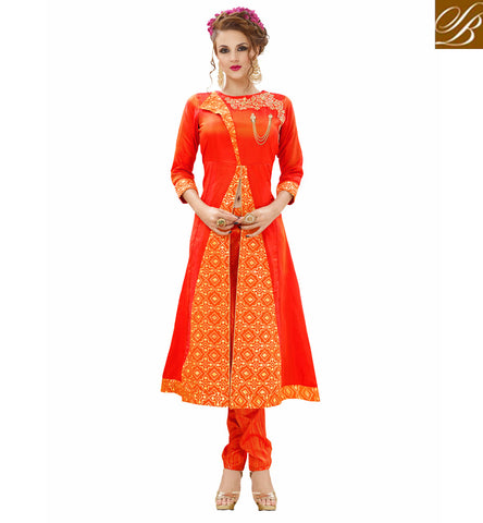 STYLISH BAZAAR Buy new orange color Silk jacquard Kurti with phantom silk orange pants VDNIS23376