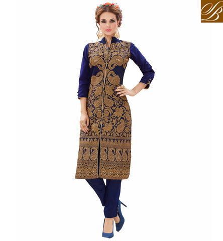 STYLISH BAZAAR Buy dark Blue Tafeta Silk ladies Kurta with blossom silk salwar VDNIS23378