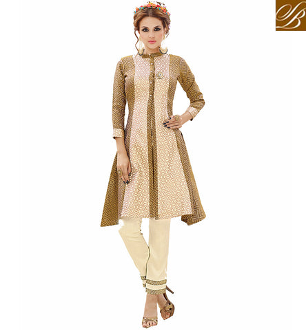 STYLISH BAZAAR Party wear Cream & Beige collar neck Silk Kurti with silk churidar VDNIS23379