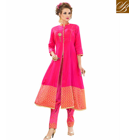 STYLISH BAZAAR Casual wear dark baby pink Banarasi silk Kurti with phantom silk bottom VDNIS23380