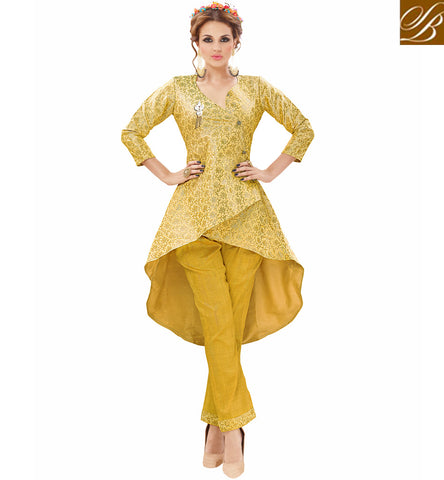 New high low silk yellow women Kurta with mustard color bottom online VDNIS23381