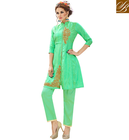 STYLISH BAZAAR Latest high collar neck silk sea green Kurti churidaar for women VDNIS23382